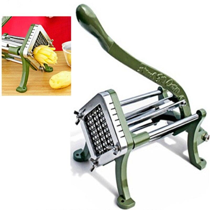 Acier inoxydable usage domestique manuel frites cutter pomme de terre, pommes de terre chips bande coupe machine main presse fruits légumes trancheuse - 2