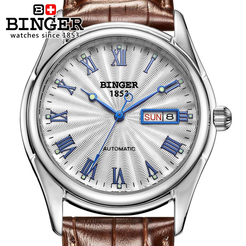 Suiza reloj de los hombres de lujo marca Binger luminoso mecánico relojes  correa de cuero impermeable B106-4 75ec54f3b85