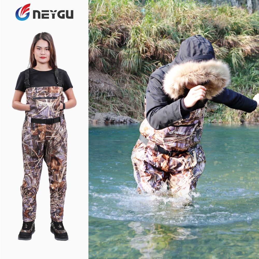 Neygu Breathable & Waterproof Wader Attached Neoprene Stockingfoot,  Camo Pattern Wader Fit For Fishing,  Hunting, Camping