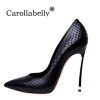 Carollabelly Women Pumps Stiletto Thin High Heels Sexy Shoes Woman Crocodile Printed Metal Thin Heels Wedding Shoes
