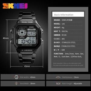 Image 5 - SKMEI haut de gamme montre de Sport de mode hommes 5Bar étanche montres bracelet en acier inoxydable montre numérique reloj hombre 1335