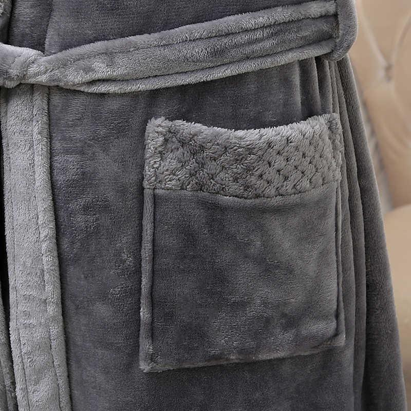 新スタイル愛好家シルクソフトフランネルロング着物バスローブ男性ワッフル冬バスローブメンズのためのドレッシングガウン男性