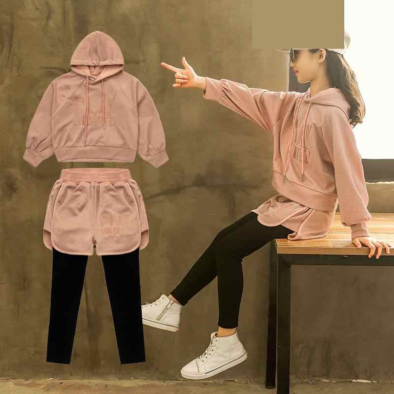 2 pieces 2018 בנות בגדי סט סתיו סתיו בנות בייסבול סגנון בגדי ספורט ברדס מעיל + Legings אימונית 10 12 14 שנה