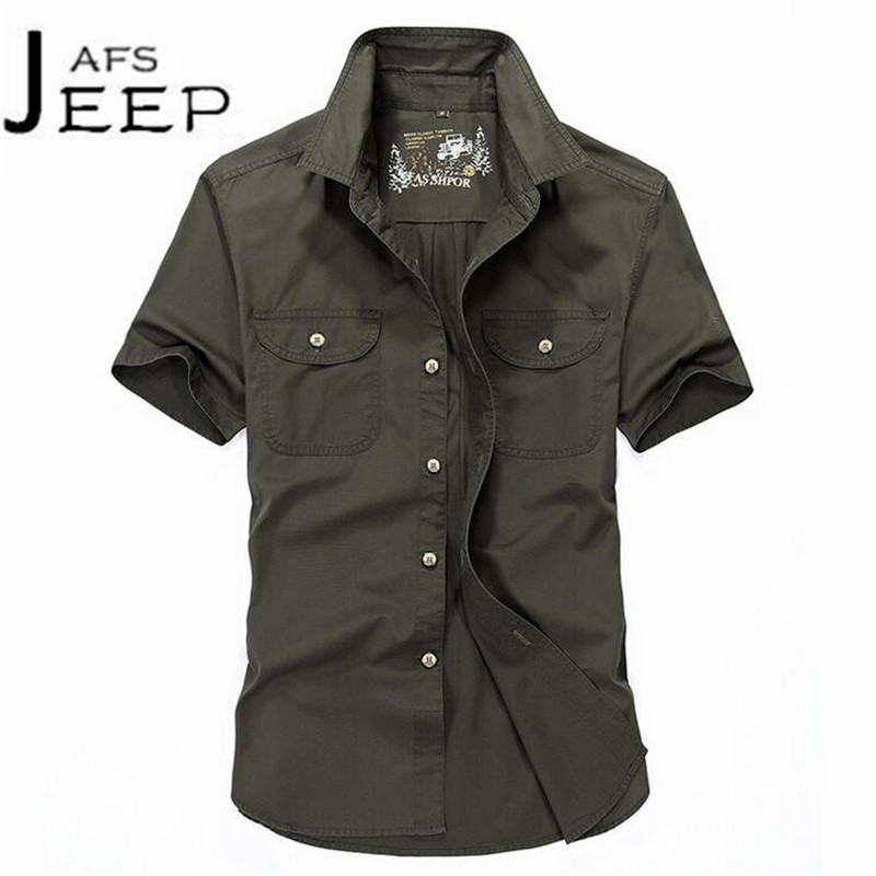 JI PU Summer Solid Solid Pure Cotton Short Sleeve Shirt,estilo militar Round Edge Front Double real pocket cargo camisa man