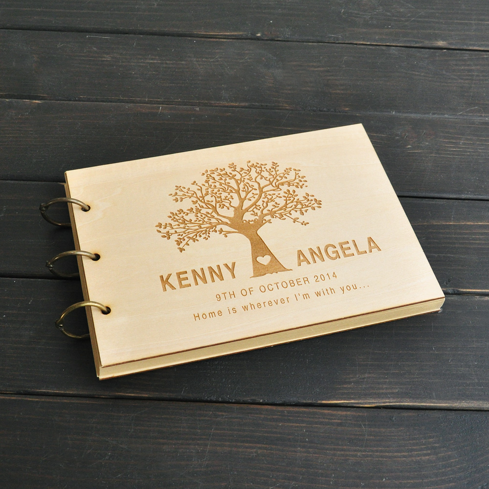 Wedding Guest Book Wood Guest Book Wedding Guestbook: Custom Wedding Tree Guest Book, Wedding Guestbook Album