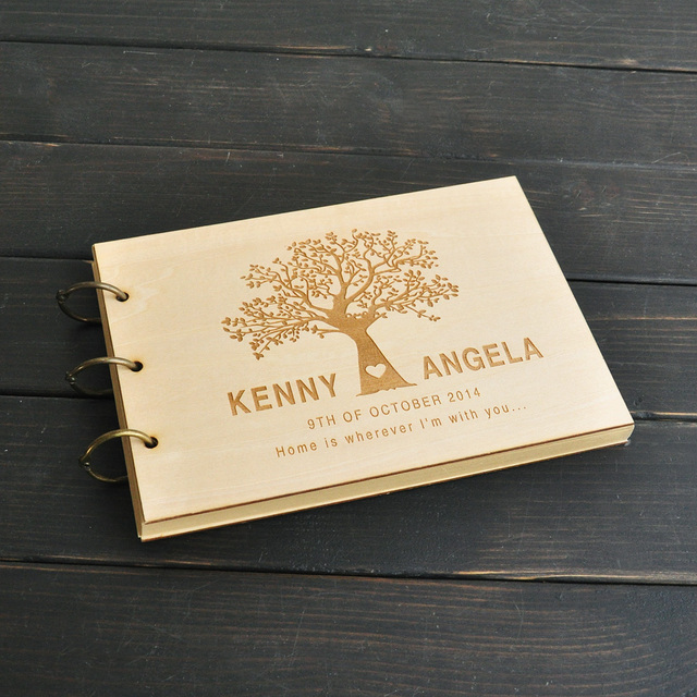 custom wedding tree guest book wedding guestbook album personalized wooden guest book bridal