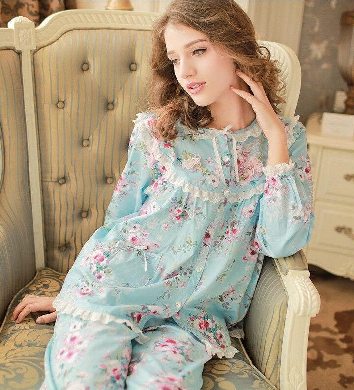 Осень-весна Случайные Хлопка Женщин Пижамы Набор Пижамы С Длинным Рукавом Из Двух Частей Ночная Рубашка Плюс Размер пижамы Женщины pijama feminino
