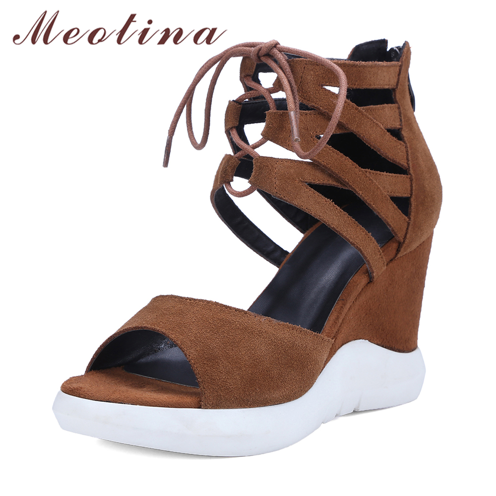 Meotina Shoes Women Genuine Leather Summer Gladiator Sandals High Heels Platform Wedges Sandal Lace Up Ankle Wrap Stripper Shoes phyanic 2017 gladiator sandals gold silver shoes woman summer platform wedges glitters creepers casual women shoes phy3323