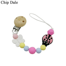 Chip Dale Silicone Chew Beads Baby Pacifier Clips Chain Wooden Clip Soother Chains Teething Toy Nipple Leash Strap