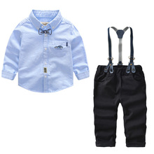 hot deal buy cute kids suits blazers 2018 new autumn cartoon baby boys shirt overalls 2pcs suit boys formal wedding wear children clothing