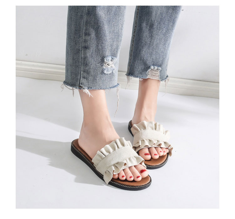 Zapatillas de mujer plana moda mujer zapatos Casual playa diapositivas Flip  Flops sandalias flor zapatilla volantes Mujer Zapatos Mujer zapatilla 19e087e1015f