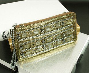 Free shipping NEW 2012 fashion Beading Chains leather Hand Bag Tote female evening bag women clutch handbag high-quality