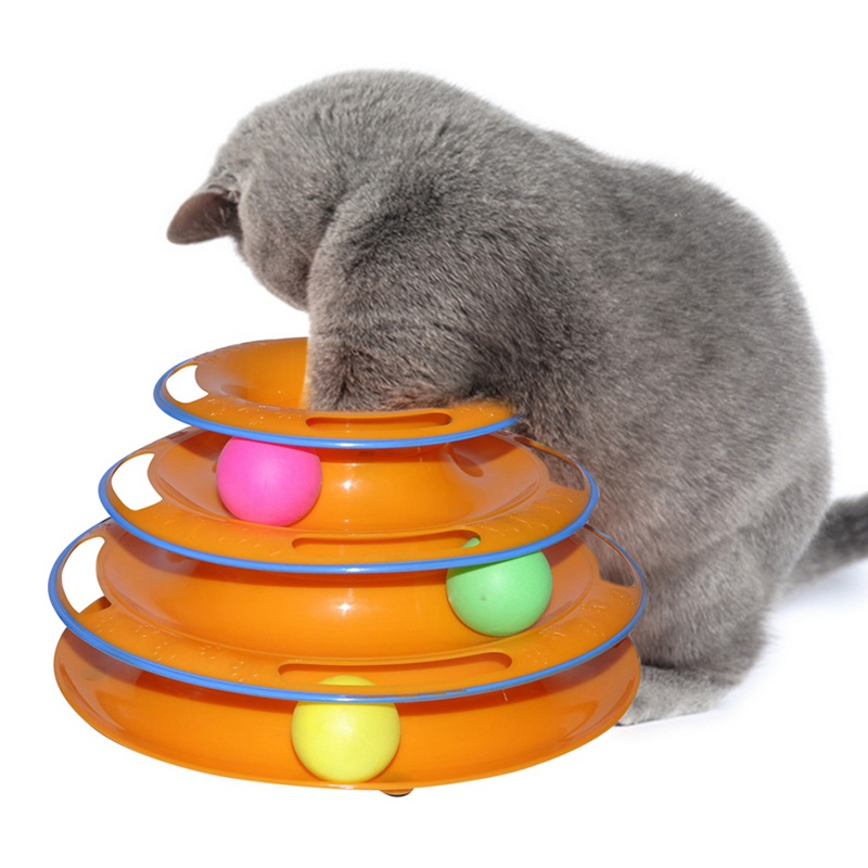 Funny Anti-slip Turntable Pet Cat Toy Intellectual Crazy Three Tower Turntable with Three Balls For Small Cat Kitten