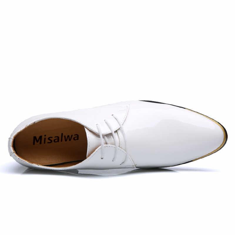 Misalwa Grande Formato 38-48 Semplice Classico Degli Uomini di Lusso di Affari Scarpe Derby Signore Onorevole Oxford Scarpe Da Uomo Rosso Bianco degli Appartamenti degli uomini