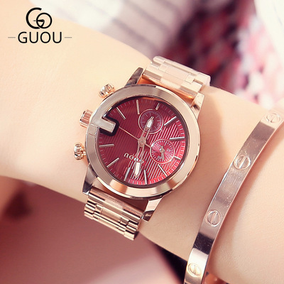 New famous brand GUOU Watch Women Casual simple Quartz watch Women's Dress watches Full Steel Ladies wristwatch relogio feminino new top brand guou women watches luxury rhinestone ladies quartz watch casual fashion leather strap wristwatch relogio feminino