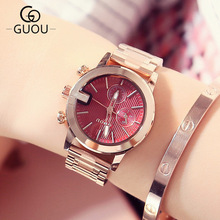 New famous brand GUOU Watch Women Casual simple Quartz watch Women's Dress watches Full Steel Ladies wristwatch relogio feminino 2017 new watch women top brand luxury famous fashion casual wristwatch quartz watch clock ladies dress watch relogio feminino