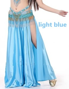 Image 2 - NEW Sexy Belly Dance Costume Saint Skirt 2 Side Slits Skirt Dress Double Split Skirt 14 Colors (No Belt)
