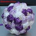 New Arrival Purple Silk Rose Brooch Wedding Bouquets Pearls Flowers Bridal Bouquet de noiva