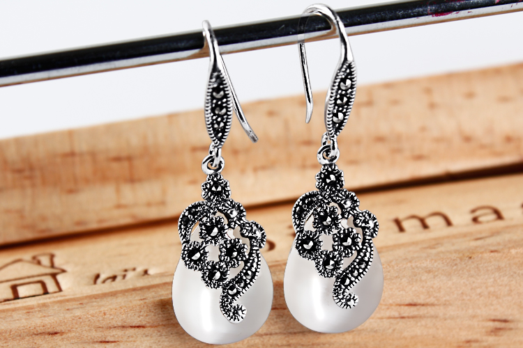 цена KJJEAXCMY Silver jewelry jade silver white eye retro pulp earrings Korean folk style old silversmith