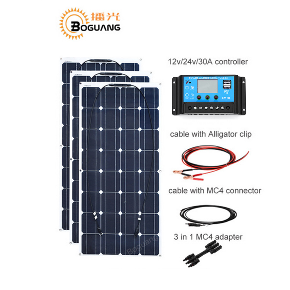 Boguang 100w Monocrystalline solar panel 300w DIY kit 30A MPPT controller cable adapter for 12v battery