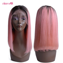 Lace Front Human Hair Wigs 1B/Pink Short Bob Wig Brazilian Straight Remy Hair USEXY Lace Frontal Wig For Women(China)