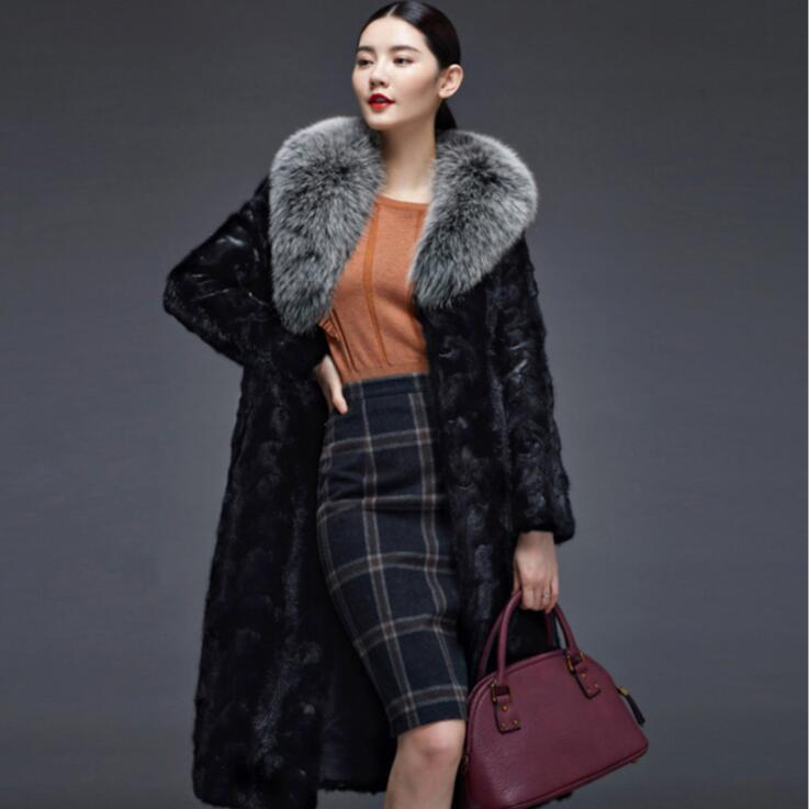 Manteaux Noir Long Fourrure Cuir Vison Veste Slim Épaissir Manteau D'hiver Mode Automne De Faux En Femmes Chaud Des Vestes xpUw8w0q