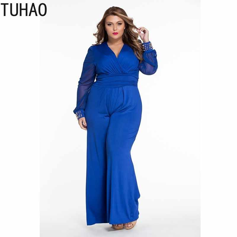 3a346d9dec2 TUHAO 2018 OFFICE Wide Leg Elegant jumpsuits Black Long Mesh Sleeves Plus  Size 3XL Overalls For