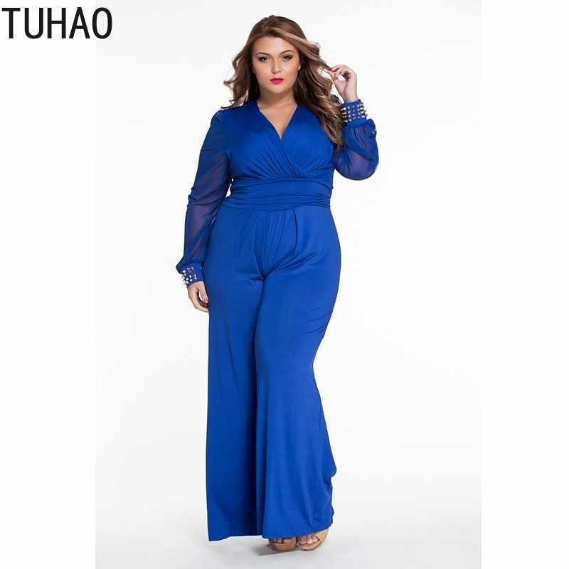 49adb82f3e0b TUHAO 2018 OFFICE Wide Leg Elegant jumpsuits Black Long Mesh Sleeves Plus  Size 3XL Overalls For