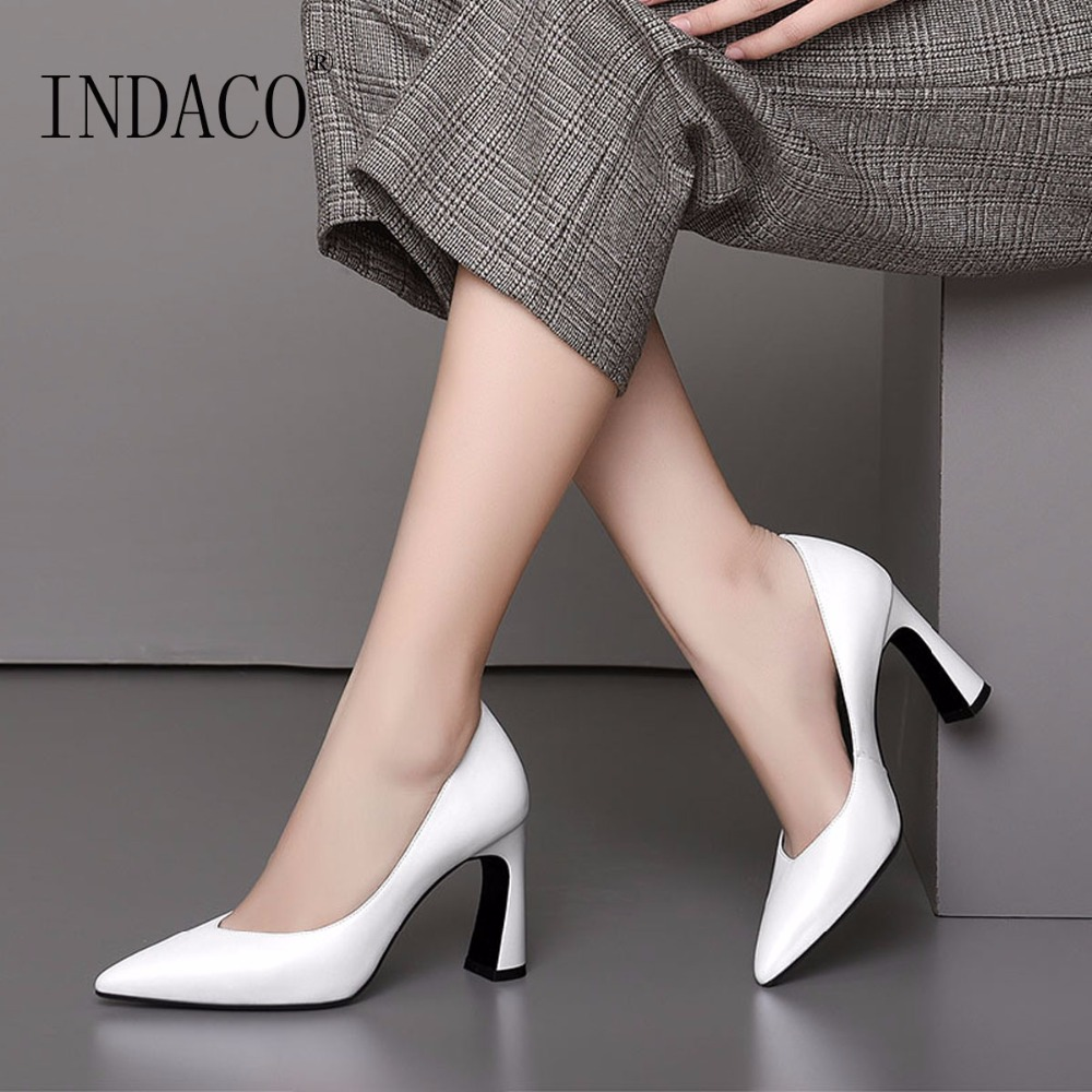 2019 Autumn White Leather Classic Pumps Thick High Heel Shoes 8 5cm Office Lady Shoes 33