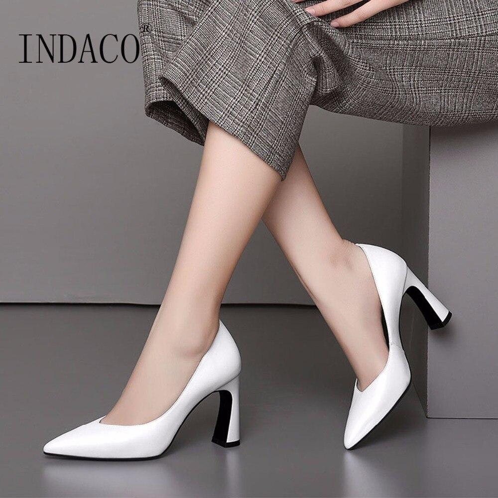 2019 가을 흰색 가죽 클래식 펌프 두꺼운 높은 뒤꿈치 신발 8.5 cm 사무실 숙녀 신발 33 39-에서여성용 펌프부터 신발 의  그룹 1