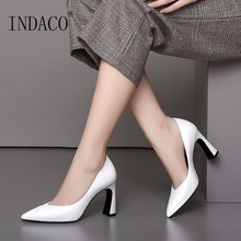 2019 Autumn White Leather Classic Pumps Thick High Heel Shoes 8.5cm Office Lady 33-39