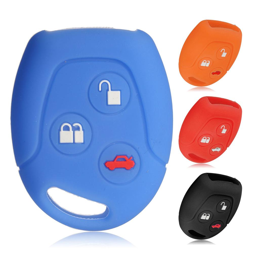 3 Buttons Silicone Car Key Fob Case Cover Set Fit For Ford