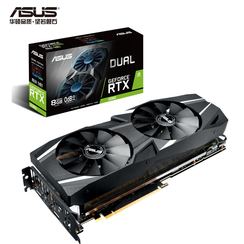 ASUS DUAL-RTX2080-8G Turing Architecture Desktop Game Graphics Card GDDR6 Support 4 Screen Output