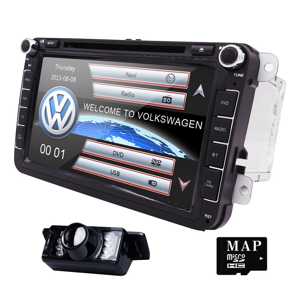 2Din 8Inch Car DVD Player For VW POLO PASSAT Golf Skoda Octavia SEAT LEON With 3G Radio GPS Navigation 1080P FM Free Camera Maps