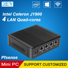 XCY Celeron J1900 4*LAN Ports Mini PC Quad-cores 4 Threads 2.0GHz VGA WIFI Windows10 Pfsense Use as router firewall proxy