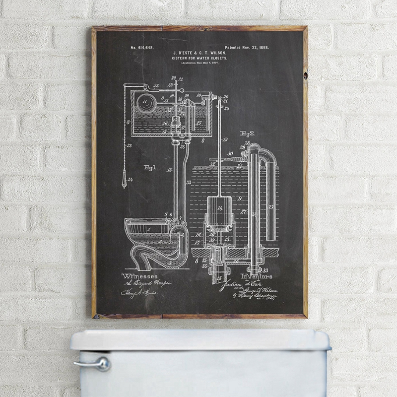 Toilet Cistern Patent Vintage Blueprint Poster And Print Bathroom Toilet Wall Art Canvas Painting Decor WC Sign Lavatory Posters