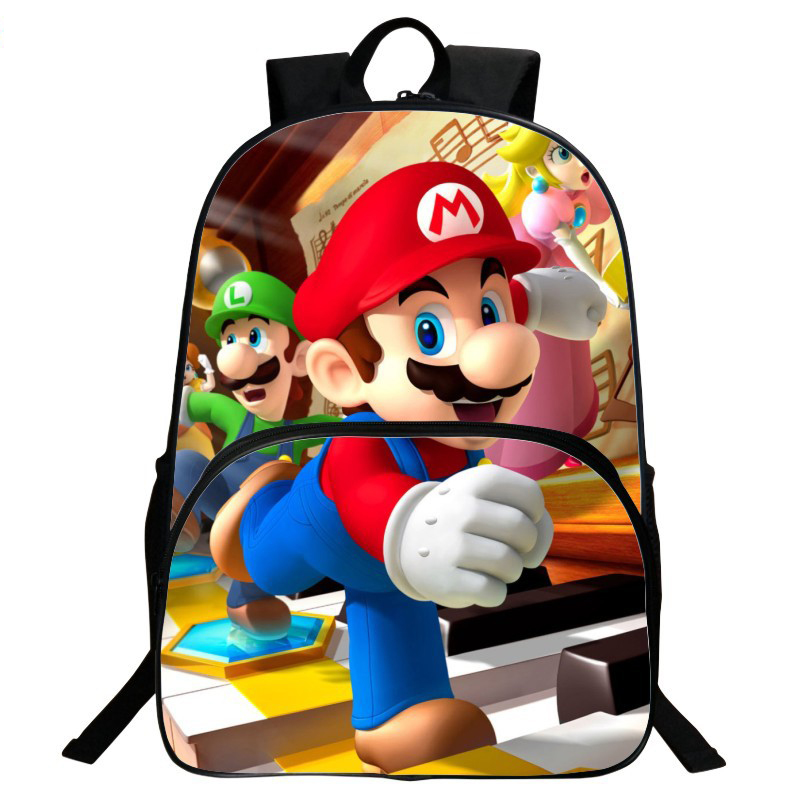 ANNIU New Children's 3D Cartoon Pring Backpack Cool Super Mario School Backpack for Kids Mario Bros boys Shoulder Bags mochila