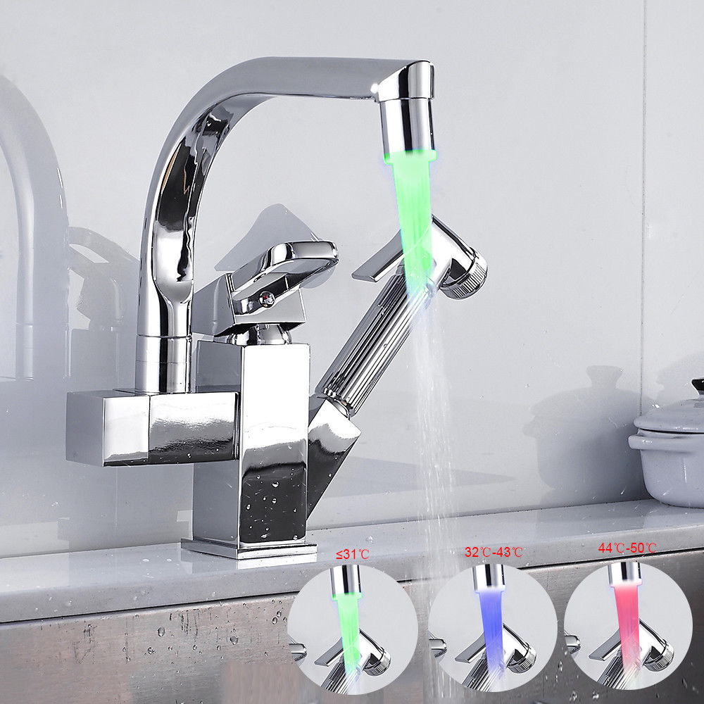 Professional LED Pull Out Up Down Home Kitchen Bathroom Sink Mixer Water Tap Swivel Faucet With Spray Head Tap