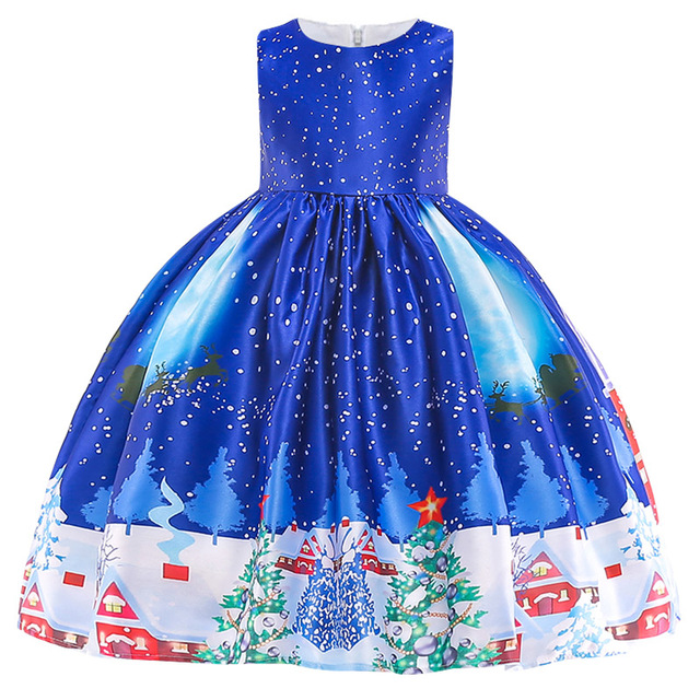 New Christmas Gift For Baby Girl Winter Snowman Dress 3-10 Years Old 2