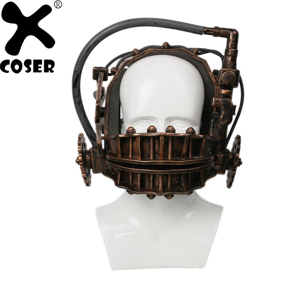 XCOSER SERRA Reversa Armadilha de Urso Bronze Resina Macia Máscara Da Mandíbula Armadilha Armadilha de Franquia SAW Filme de Terror Halloween Máscara de Cosplay