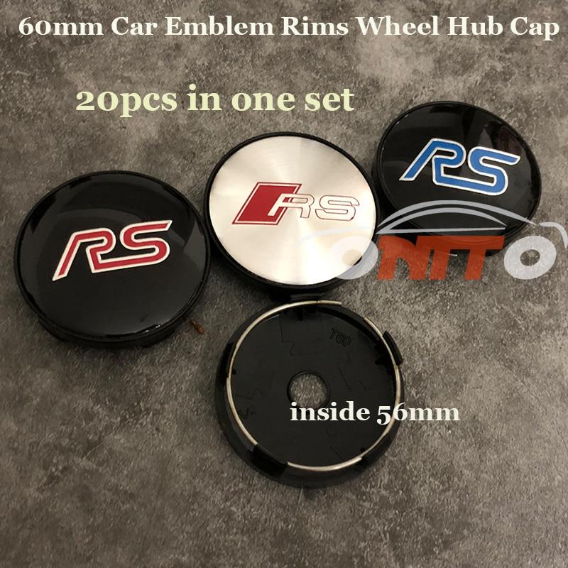 Good selling 20PCS/SET 56mm 60mm Car Wheels hub Caps For ALL Car Series RS logo Badge Rims Emblem label Covers Auto Stickers