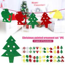 6pcs Christmas Tree Ornament Kids Diy Craft 2020 Gifts New Year Felt Pendant Decoration Santa Claus Supplies for Home