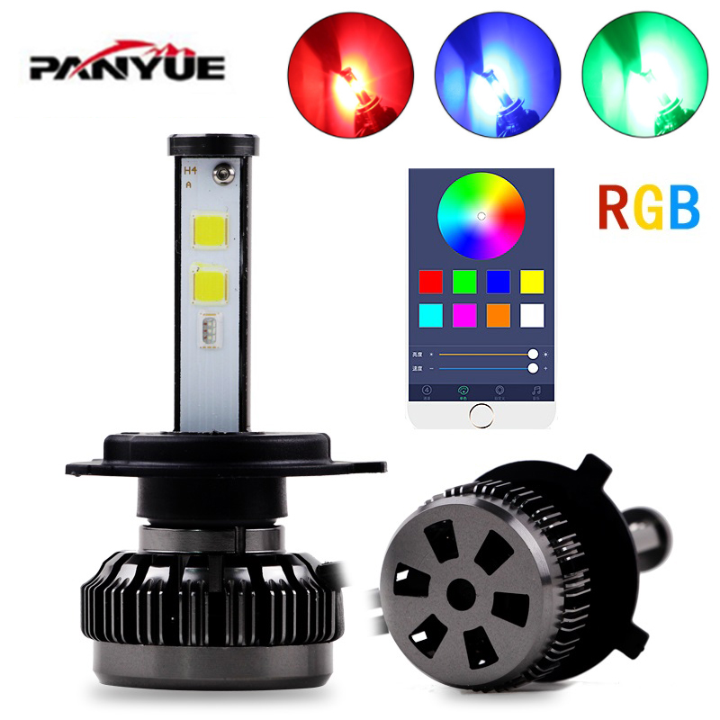 PANYUE H4 LED Auto Lamp H1 H7 H3 HB2 Hi/Lo DIY Led Car Headlight Bulb COB Chip 50W 10800LM RGB Beam Fog Light Bluetooth Control цена