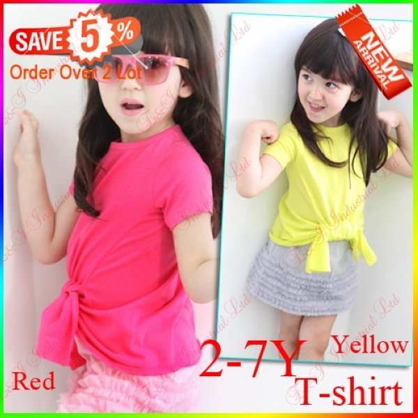 Wholesale - Hot! 2012 New Baby Girl Lovely T-shirt Red&Yellow BIG Bow Embellish Can Mixed Fashion Girl Tops 2-7Y  MOQ:5 pcs/lot