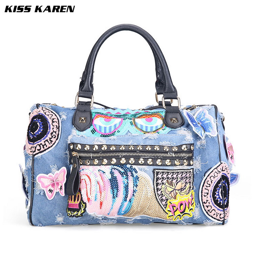 KISS KAREN Butterfly Embroidery Fashion Denim Women Bag Lady Handbags Jeans Tote Bag Rivet Women's Shoulder Bags Casual Totes-in Top-Handle Bags from Luggage & Bags    2