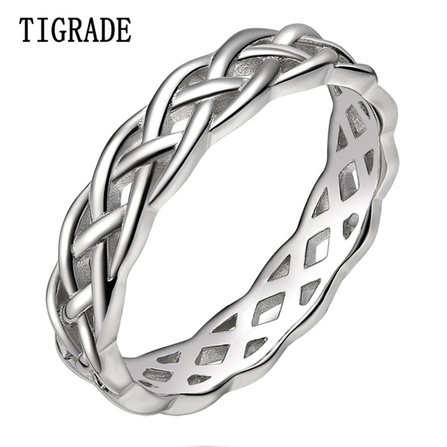 Tigrade 4mm 925 Sterling Silver Celtic Knot Eternity Ring Women Wedding Band High Polish Clic Stackable