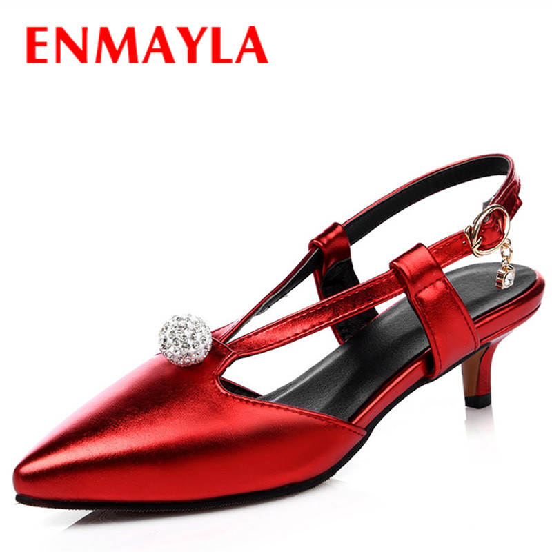 Airfour Fashion Low Heels Sandals Women Pumps Elengant Rhinestone Pionted Toe Buckle Plus Size Gold Silver Red Pink