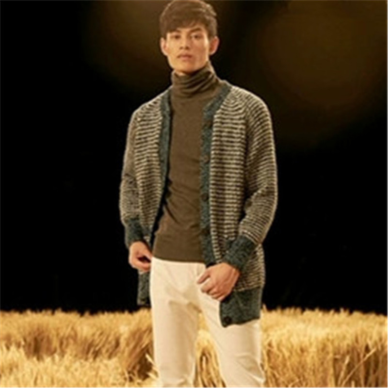 100% Hand Made Pure Wool Knit Men Fashion Oneck Striped Loose Single Breasted Cardigan Sweater Customized