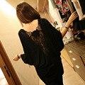 Plus size mulheres top sexy t-shirt de manga comprida primavera patchwork flores de volta recorte de renda básica camisa feminina preto