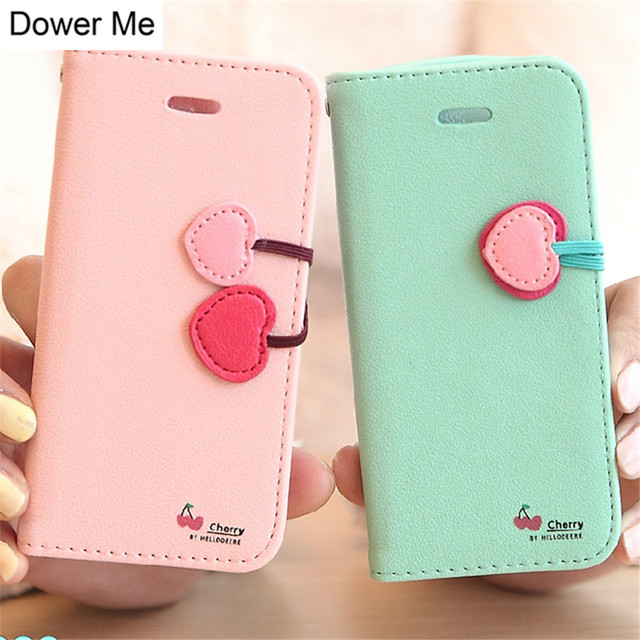 sale retailer fb042 32607 US $6.34 8% OFF|Dower Me Fashion Sweet Girl Candy colors Cute Cherry  Leather Flip Wallet Case Cover For iPhone X 8 7 6S Plus 5 5S SE 4 4S 5C-in  Flip ...
